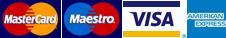 We accept Mastercard, Maestro, Visa & Amex